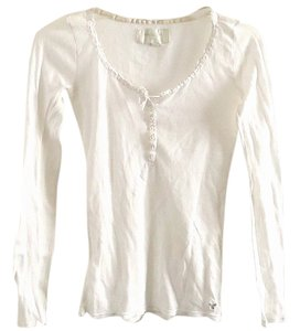 American Eagle Outfitters Cotton Textured Lace Trim T Shirt white