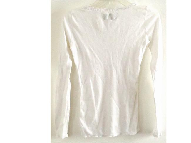 American Eagle Outfitters Cotton Textured Lace Trim T Shirt white Image 1