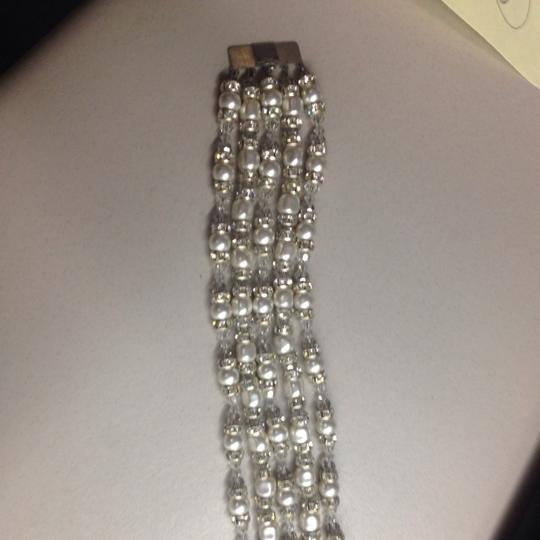Off White Pearl and Clear Crystal 5 Strand Bracelet