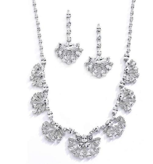 Mariell Art Deco Cubic Zirconia Bridal Necklace And Earrings Jewelry Set