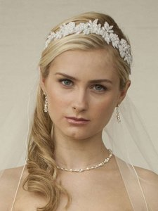 Mariell Beaded Lace Applique Wedding Headband