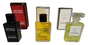 Chanel Three Chanel Miniature Parfums. Chanel # 19 and Cristalle2 inches by 0.5, Antaeus pour Homme 2 inches by 1