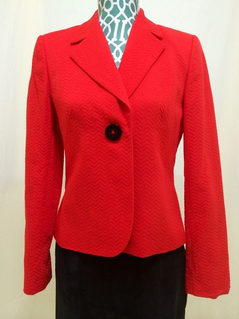 Calvin Klein Sui Jacket Fitted Elegant Hot Career Classic Chic Fashion Style Red Blazer