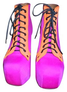 Jeffrey Campbell neon pink with neon orange trim Boots