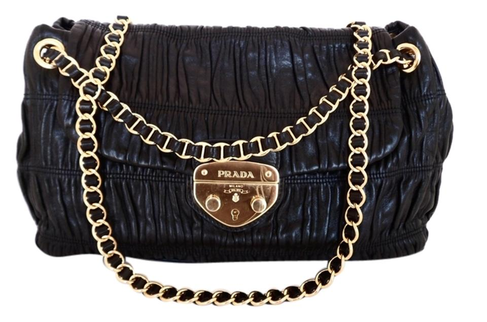 d801d86e5ea5 Prada Gaufre Chain Strap Black Nappa Leather Shoulder Bag - Tradesy