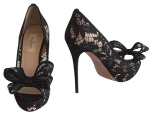 Valentino Bow Lace High Heel Formal Couture Black Pumps