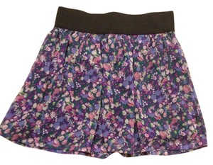 Forever 21 Vintage Spring Summer Mini Skirt Purple with flowers