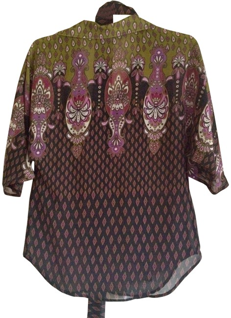 Other Party Casual Paisley Purple Top Multi-color