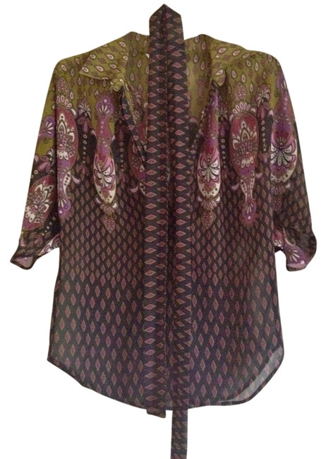Other Party Casual Paisley Purple Top Multi-color Image 1