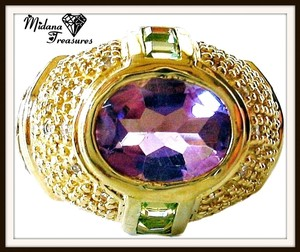 Amethyst, Citrine and Peridot Domed 925 Sterling Silver, 14k Ring Size 6