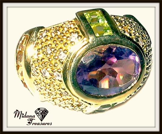 Other Amethyst, Citrine and Peridot Domed 925 Sterling Silver, 14k Ring Size 6