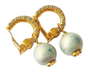 Chanel Chanel 2 Way Hoop 18K Gold Plated Loop Pearl CC Dangle Clip on Earrings