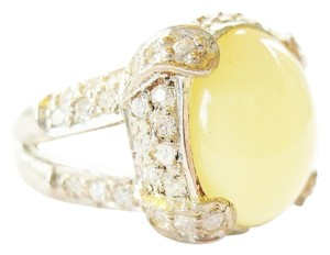 Natural Yellow Opal and White Sapphire 925 Sterling Silver Ring 7