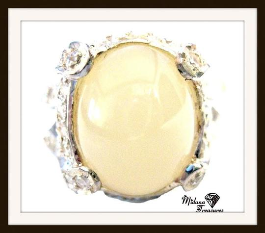 Other Natural Yellow Opal and White Sapphire 925 Sterling Silver Ring 7