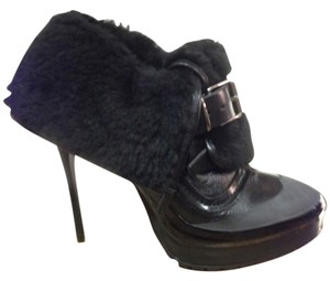Burberry Leather Shearling Fur Black Boots