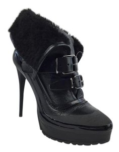 Burberry Leather Shearling Fur Wedge Black Boots