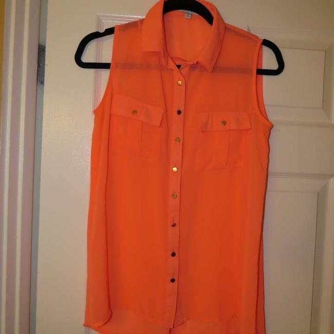 Cotton On Button Down Shirt Bright Coral