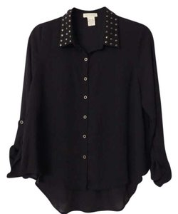 Other Studded Button Down Shirt Black