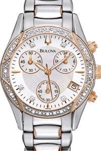 Bulova Bulova Diamond Chronograph TwoTone Ladies Dress Watch Style 98R149