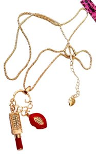 Betsey Johnson New Betsey Johnson Lips & Lipstick Pendant Necklace J982