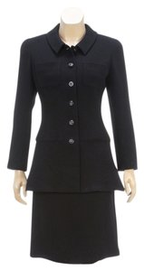 Chanel Chanel Boutique Black Wool Button Jacket and Skirt Suit 97A (Size 36)