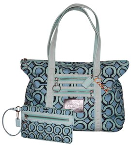 Coach Op Art Signature Wristlet Tote in Blue