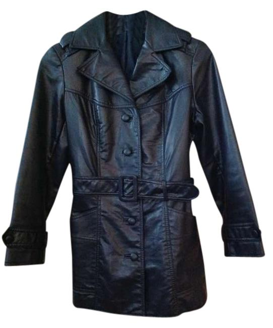 Other Faux Dark Navy Leather Jacket