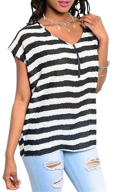 Preload https://item1.tradesy.com/images/black-white-striped-blouse-size-4-s-3919000-0-0.jpg?width=400&height=650