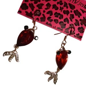 Betsey Johnson Betsey Johnson Fish Dangle Earrings Red Gold J989