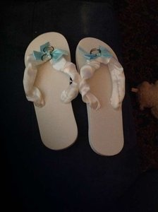 "White with Teal Ribbon ""Just Married"" Flip-flops Sandals Size US 8.5"