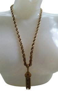 Vintage Vintage Long Gold Plate Necklace with stunning tassel