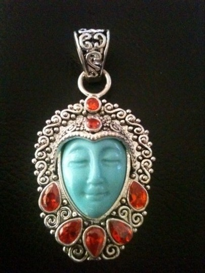 9.2.5 Goddess Face Garnet Silver Filled Pendant