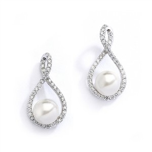 Cz And Pearl Eternity Bridal Earrings