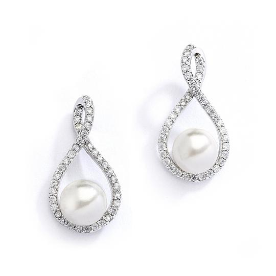 Ivory Cz and Pearl Eternity Earrings