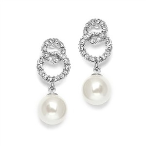 Cz And Pearl Interlocking Circle Bridal Earrings