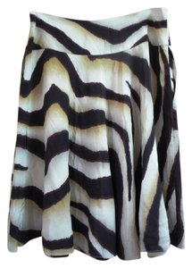 Lauren Ralph Lauren Silk Nwt Zebra Skirt Brown multi