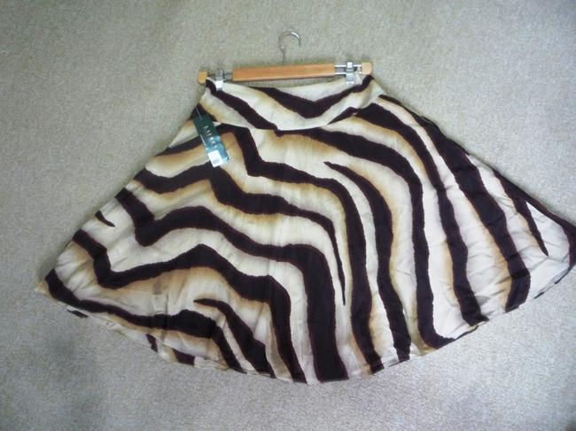 Lauren Ralph Lauren Silk Zebra Skirt Brown multi