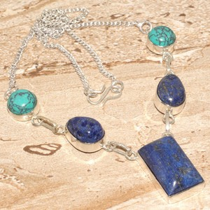 Lapis & Turquoise Y Silver Necklace Free Shipping