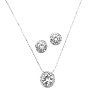 Silver Of 4 Cz Solitaire Necklace and Earring Jewelry Set