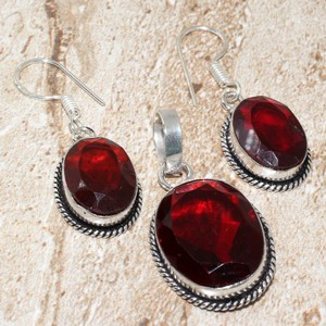 Garnet Pendant And Earring Set Free Chain & Shipping