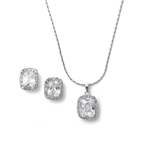 Silver Highest Quality Aaa Cz Cushion Cut Necklace and Earring Jewelry Set