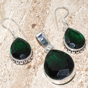 Green Quartz Pendant Earring Set Free Chain & Shipping