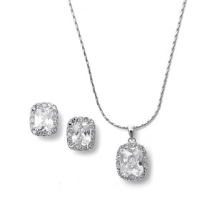 Silver Of 4 Highest Quality Aaa Cz Cushion Cut Necklace and Earring Jewelry Set