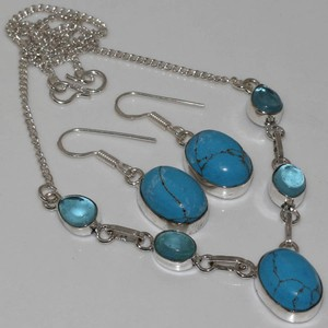 2pc Turquoise Y Necklace And Earring Set Free Shipping