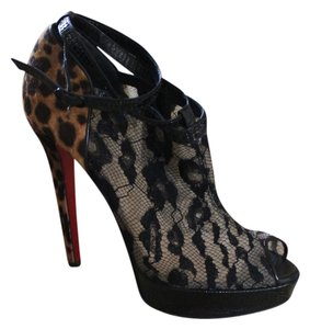 Christian Louboutin Lace Black Ponyhair Leopard Leather Animal Print Ariella Tallon Peep Toe Ankle Ankle Strap Stiletto Platform 38 8 New Multicolor Boots