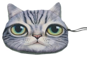 Other Cat Plush Grey Gray Tabby Wristlet in Grey white