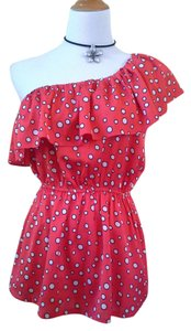 Joy Joy One Shoulder Polka Dot Ruffle Top Red