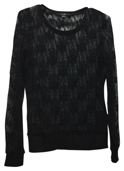 Forever 21 Lace Long Sleeve Top Black