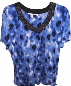 JM Collection Top Blue/Black