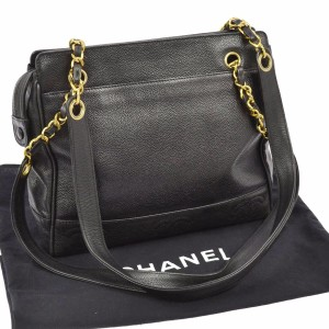 7890714cfda5 Chanel Quilted Caviar Skin Chain Black Leather Shoulder Bag - Tradesy
